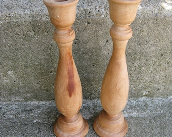 turned wood candlesticks set of 2 holiday table unfinished upcycle taper candle holders solid wood candlesticks