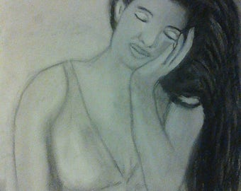 Charcoal drawing woman delicate pose