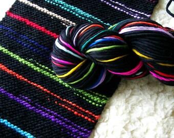 SALE 50% OFF - Black Here n There handspun rainbow yarn self striping merino wool 120 yds
