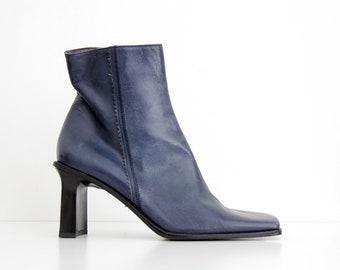 Vintage Boots // 1990s Laura Bellariva Blue Leather Ankle Heel Boots // Square Toe Block Heel Booties