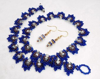 Blue and Raspberry Hand Beaded Necklace and Matching Earrings With Gold and Crystals