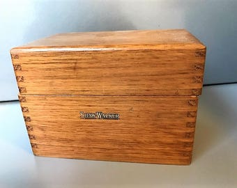 Vintage Wooden Shaw Walker File Box