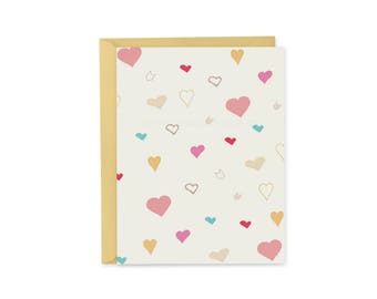 Hearts Card, Note Card, Note Card Set, Stationery Set, Cute Note Card, Valentine's Day, Valentine, Love Note, Girlfriend Gift, Kawaii Card