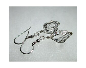 "ww1282 - 1/2""+ Wirewrap HERKIMER DIAMOND EARRINGS - Argentium Sterling Silver"