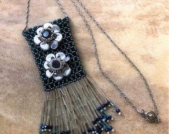 Denim Blue Amulet Bag Necklace