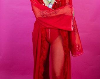 Ruby Red Marabou Kimono