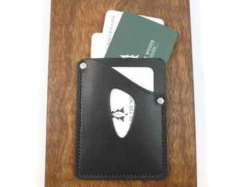 Deluxe Leather Card Sleeve • Black • front pocket wallet, minimalist wallet, leather wallet, ultralight front pocket wallet • EDC-201