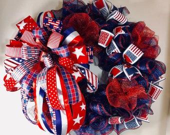 Memorial Day Door Wreath / Memorial Day Wreath / Patriotic Wreath / American Wreath / Patriotic Memorial Day Wreath / Memorial Day Decor
