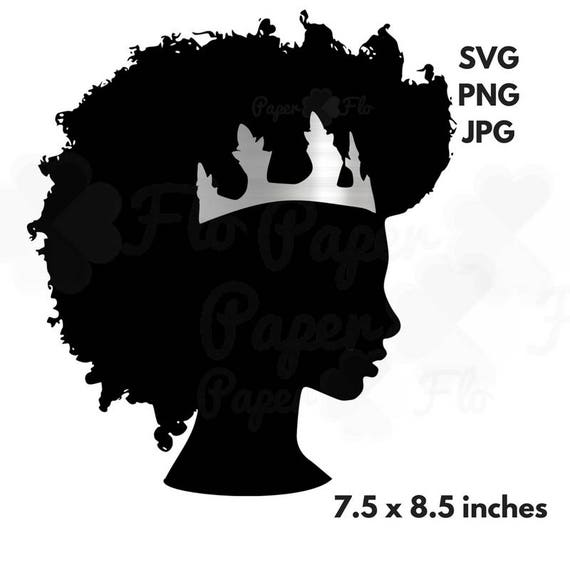 Afro Svg Silver Crown Clipart Black Woman Svg Black Girl