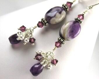 Purple Amethyst Semiprecious Gemstone and Swarovski Earrings on All Sterling Silver