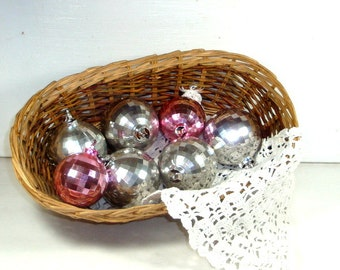 Vintage Disco Style Christmas Ornaments, Silver, Pink, Round Plastic Balls, Retro