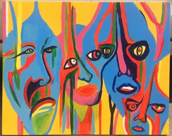 Faces - Original Acrylic Painting on Canvas, 16 x 20 inches