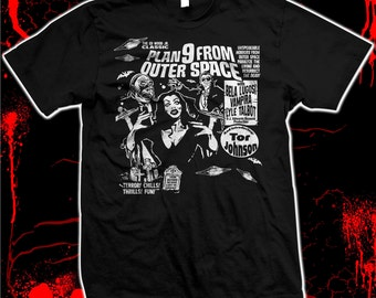 Plan 9 (Nine) from Outer Space - Ed Wood - Vampira - Bela Lugosi - Tor Johnson - Pre-shrunk, hand screened 100% cotton t-shirt