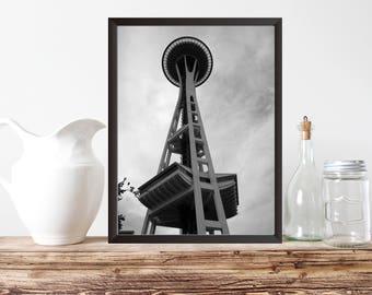 "PRINTABLE ART, 8x10, ""Space Needle"", Seattle Washington Instant Download, Wall Art, Pac Northwest, Black & White, Office Decor, Home Decor,"