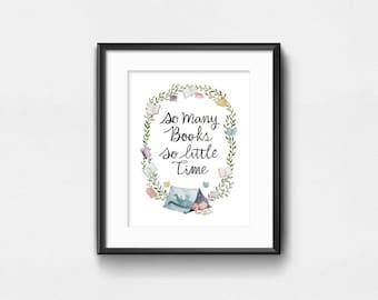 Si plusieurs livres si peu de temps | Aquarelle Art Print | Wall Decor | 8 x 10 | 11 x 14