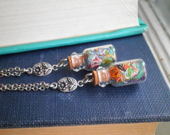Ort Jar & Silver Flower Charm Necklace - Mini Glass Bottle / Vial Bohemian Embroidery Yarn Pendant - Fiber / Textile Art Floral Jewelry Gift