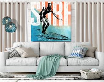 Surf Art, Beach Decor, Coastal Wall Art, large Canvas Art, Coastal Decor, Surf Decor, Watercolor, Beach Wall Art, Canvas Print, 36x36 art