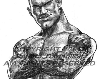 Randy Orton Caricature Poster Art  Sketch Print Limited Edition