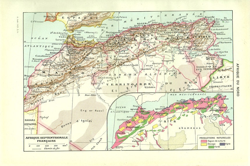 Vintage North Africa Map Vintage French Dictionary Page - North africa map