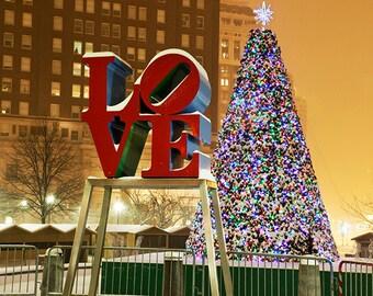 Christmas at Philadelphia Love Park Giclee Canvas Art 12x14