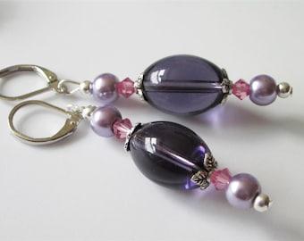 Amethyst Crystal Earrings, Modern Jewelry, Purple Glass, Large 16mm Oval Amethyst Crystal Beads, Leverback