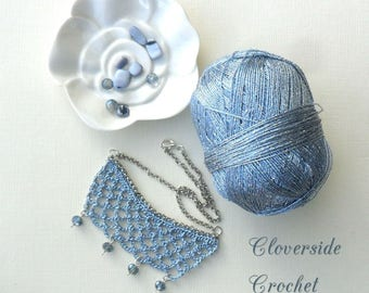 bib necklace, beaded necklace, blue, statement necklace,  romantic style, bridal jewelry, statement jewelry, crochet necklace, gift for her