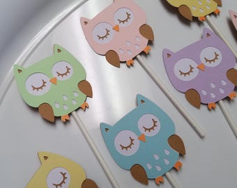 owl cupcake toppers, owl baby shower, owl birthday, owl party, owl centerpiece