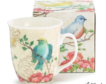 Soy Candle in Burton and Burton Bird Mug, Coffee Mug, Hand Poured & Highly Scented, Eco Friendly, Clean, Long Burning, You Choose Scent