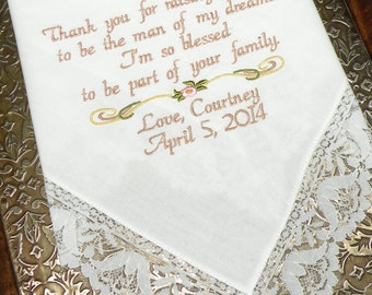 Mother of the Bride Embroidered Wedding Handkerchief Wedding Gift Mother In-Law Beautiful Wedding Bell Lace Hankerchief by Canyon Embroidery