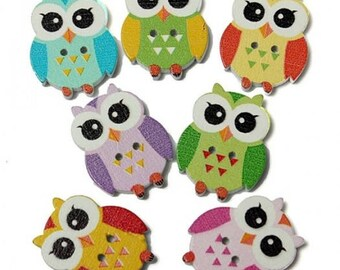 Wood buttons / OWL / size 21mm x 17mm