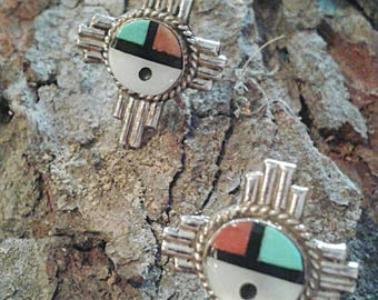 Native American Sterling Silver & Turquoise Coral MOP Mother of Pearl Onyx Geometric Gemstone Inlay Kachina Face Sunface Cross Post Earrings