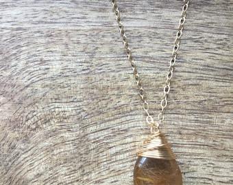Golden Rutilated Quartz necklace 14k gold filled