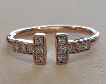 14 K Rose gold double T diamond ring