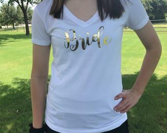 Bride Gold Foil V-Neck Shirt / Bride Shirt / Wedding Day Shirt / Bride T-Shirt / Bride Tee / Wifey Shirt / Bridal Shower Gift / Bride Gift