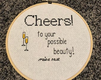 Cheers To Your Possible Beauty Schitt's Creek inspired cross stitch