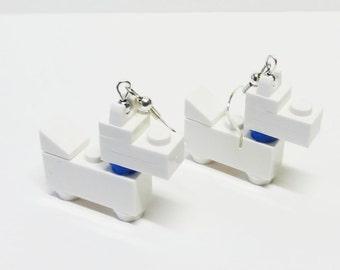 Mini White Scottie Dog Dangle Earrings