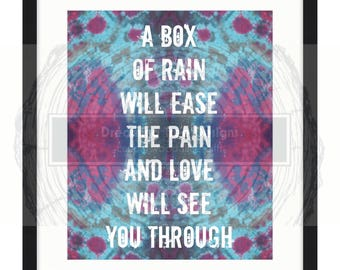Grateful Dead BOX of RAIN DIGITAL lyric art poster
