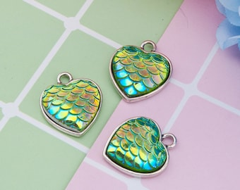 Green Mermaid Scale Heart Charm - Clip-On - Ready to Wear
