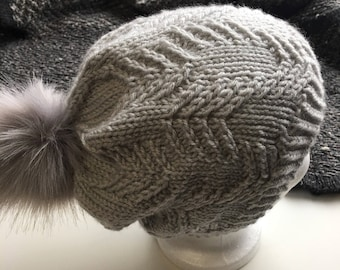HandKnit grey gray Nuetral Slouchy Stocking Cap faux fur snap pompom