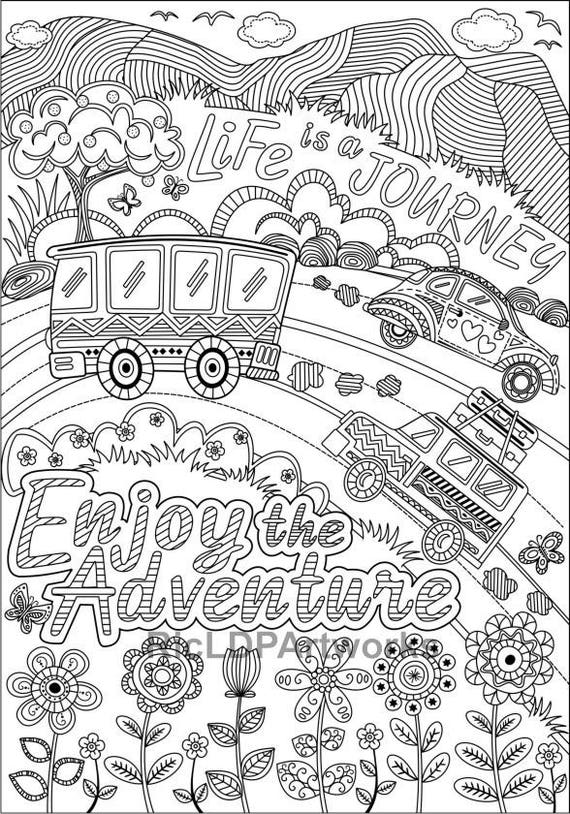 Two 2 Printable Coloring Pages for Kids or Grown-ups. Work