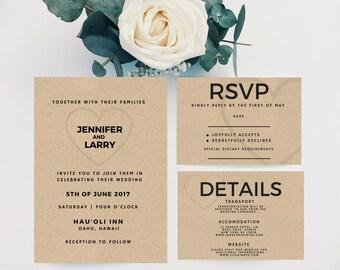 Minimalist Wedding Invitation, Wedding Invitation Template Download, Printable Wedding Invitation Set, DIY Wedding Invitation Kit, Digital