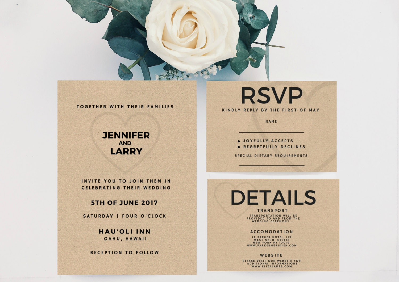 Minimalistische Hochzeitseinladung Hochzeit Einladung Vorlage
