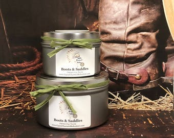 Boots & Saddles - Leather Candle - Soy Candles - Container Candles - Housewarming Gift - 4oz Candle - 8oz Candle