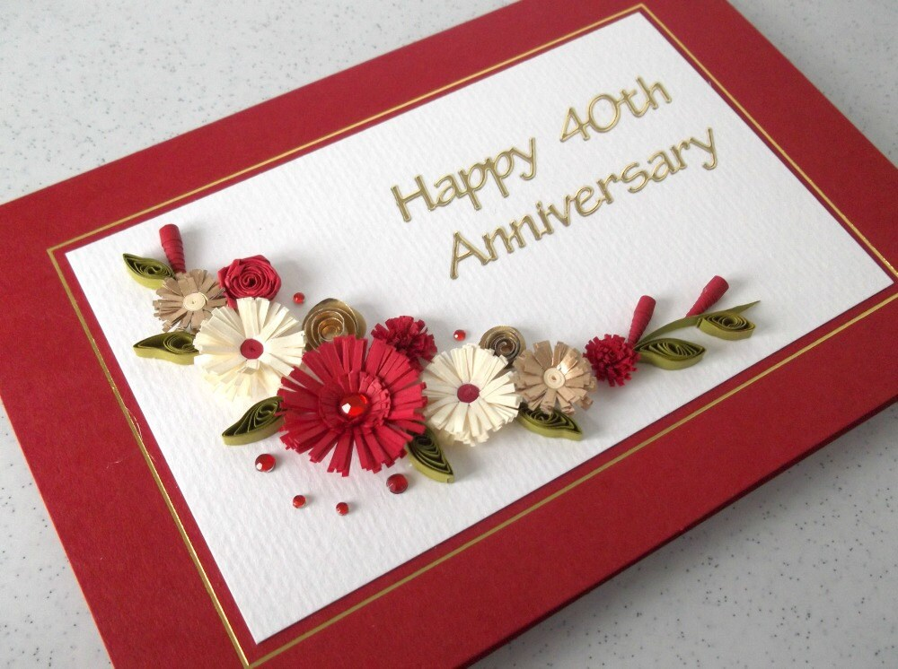 Quilled th ruby wedding anniversary card handmade paper