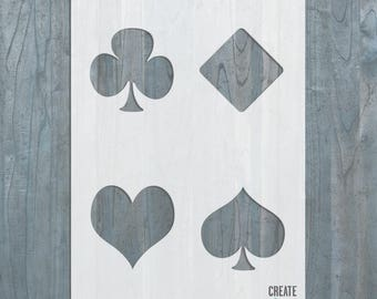 Playing Poker Cards STENCIL Hearts Spades Diamonds Clubs Symbols  Template Craft