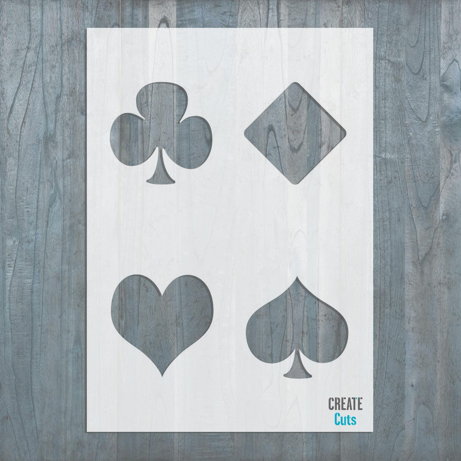 Playing poker cards stencil hearts spades diamonds clubs request a custom order and have something made just for you biocorpaavc Choice Image