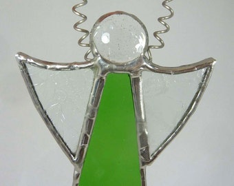 Stained Glass Christmas Angel with emerald green dress and silver patina