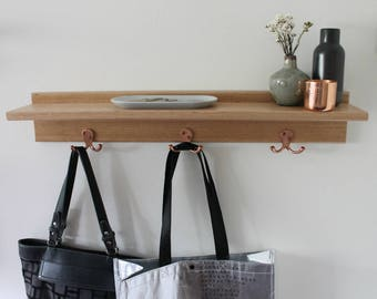 Entryway Organiser - Key Holder - Floating Shelf - Key Hooks - Entryway Shelf - Wall Coat Rack - Key Holder for Wall - Coat Rack -