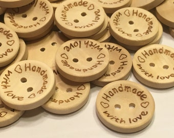 5 Handmade with Love wood buttons, 20 mm (B10)