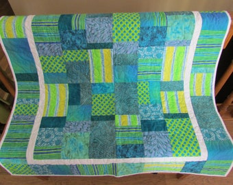 Baby Quilt, Baby Blanket, Teal and Green baby Quilt, Crib Blanket, Gender Neutral Baby Blanket, Modern Baby Quilt
